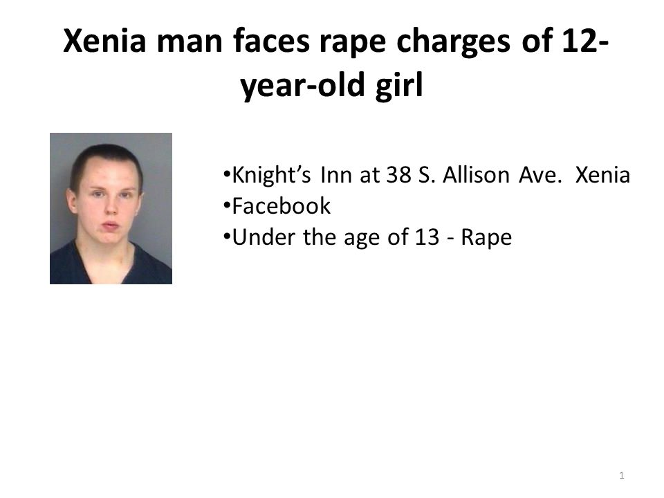 Xenia man faces rape charges of 12- year-old girl 1 Knight's Inn at 38 S.