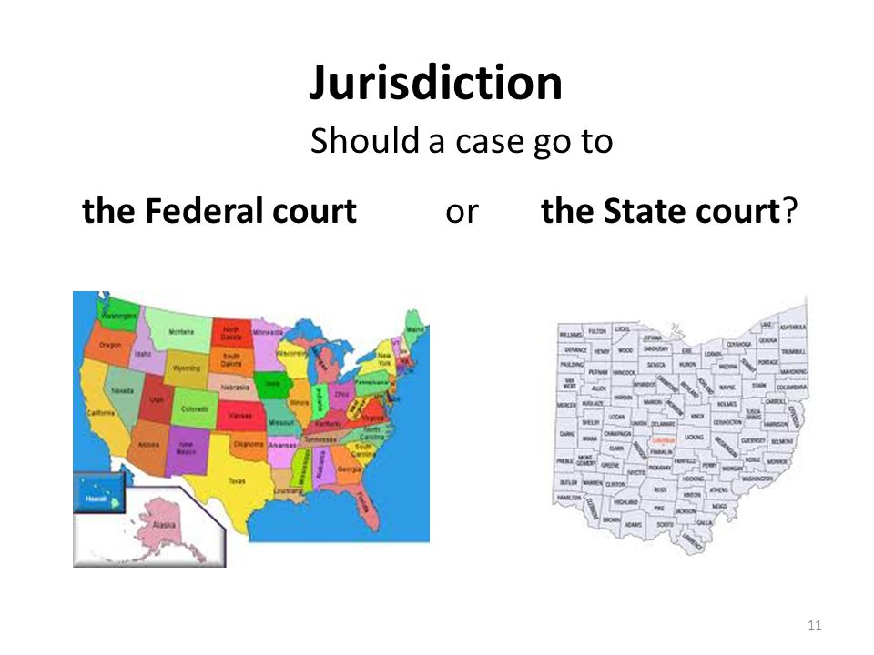Jurisdiction Should a case go to 11 the Federal court or the State court?