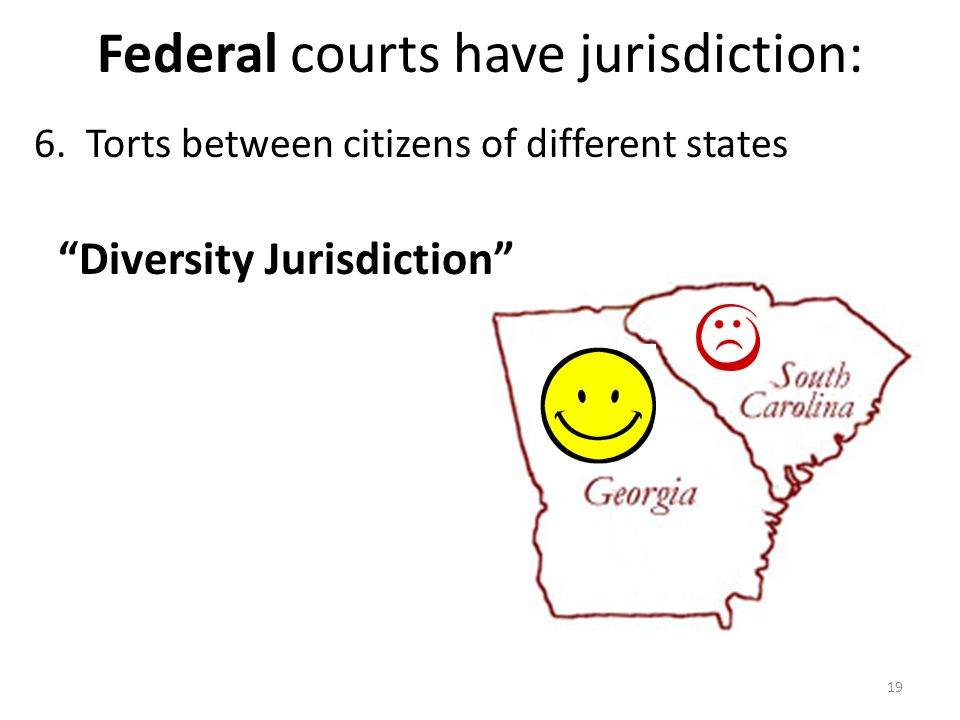 """Federal courts have jurisdiction: 6. Torts between citizens of different states 19 """"Diversity Jurisdiction"""""""