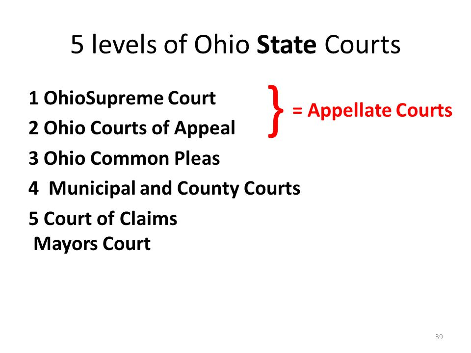 5 levels of Ohio State Courts 1 OhioSupreme Court 2 Ohio Courts of Appeal 3 Ohio Common Pleas 4 Municipal and County Courts 5 Court of Claims Mayors Court 39 } = Appellate Courts