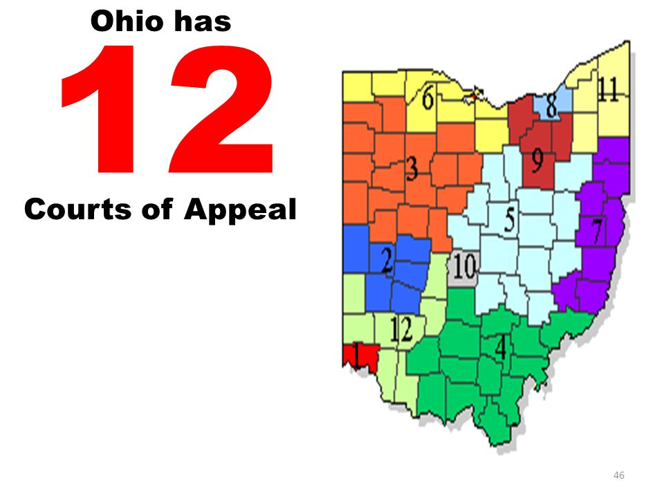 Ohio has 12 Courts of Appeal 46