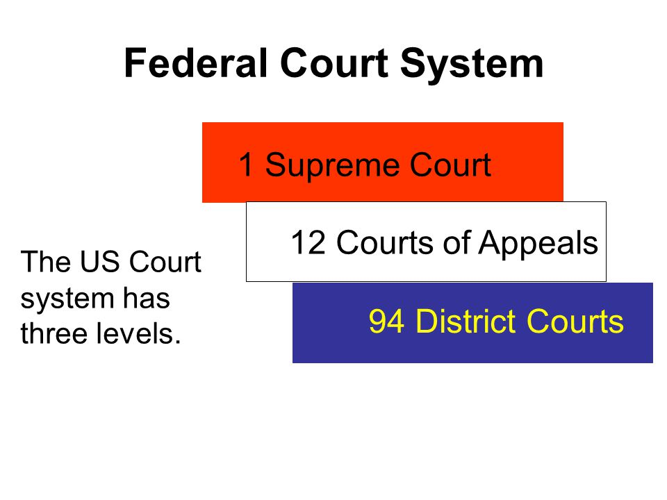 Federal Court System The US Court system has three levels. 1 Supreme Court 12 Courts of Appeals 94 District Courts