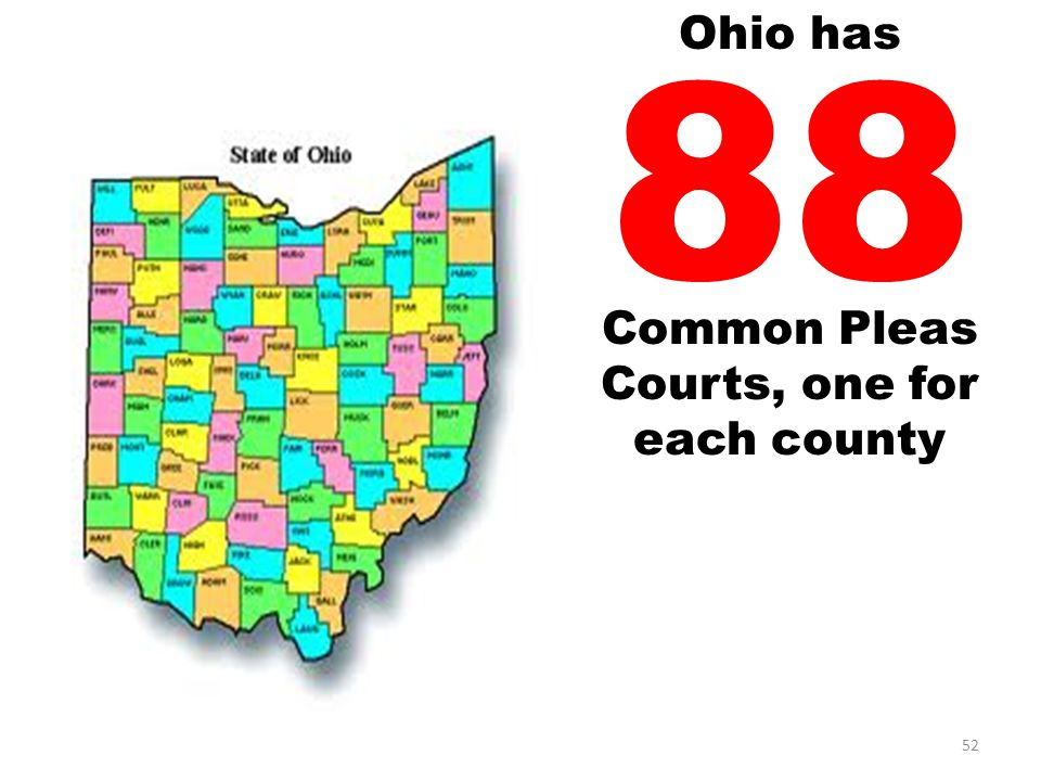 88 Common Pleas Courts, one for each county 52