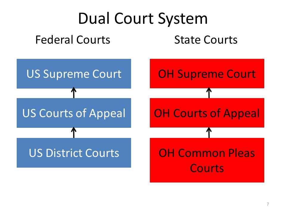 Dual Court System 7 Federal CourtsState Courts US Supreme Court US Courts of Appeal US District Courts OH Supreme Court OH Courts of Appeal OH Common Pleas Courts