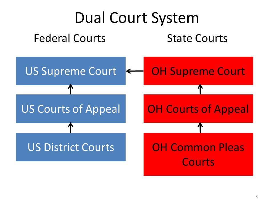 Dual Court System 8 Federal CourtsState Courts US Supreme Court US Courts of Appeal US District Courts OH Supreme Court OH Courts of Appeal OH Common Pleas Courts