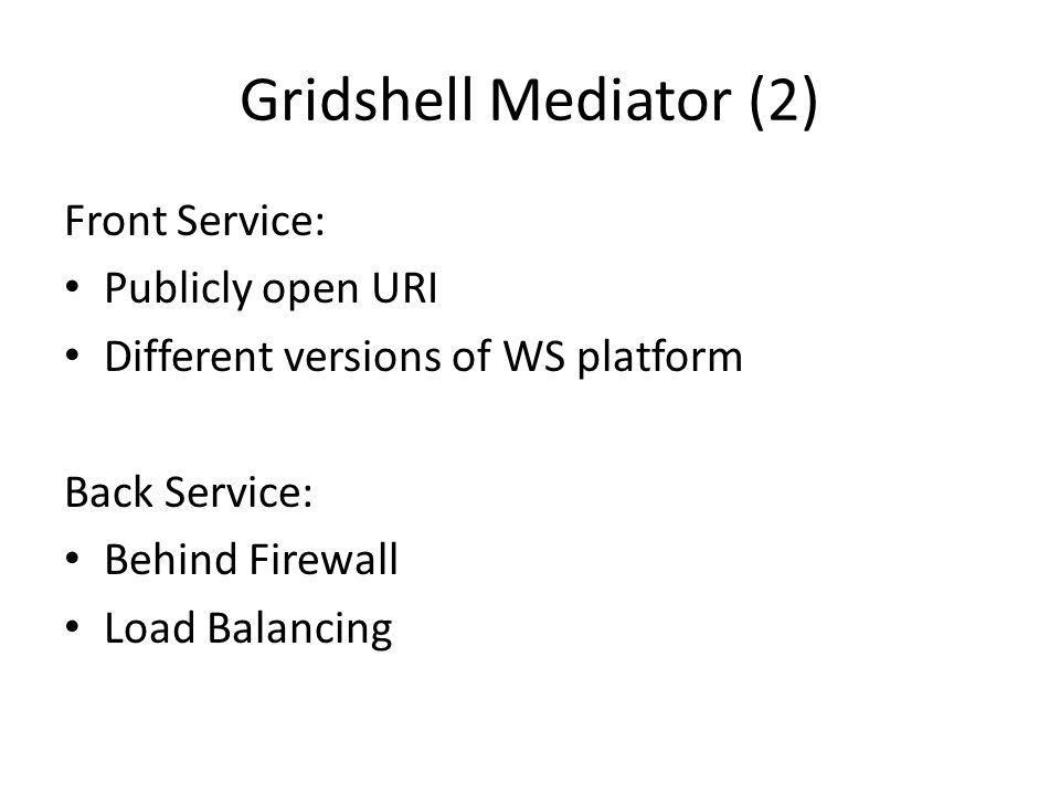 Gridshell Mediator (2) Front Service: Publicly open URI Different versions of WS platform Back Service: Behind Firewall Load Balancing