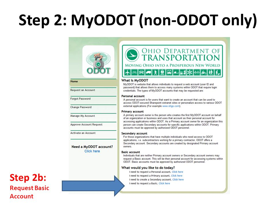 Step 2c: Request Basic Account Step 2: MyODOT (non-ODOT only)
