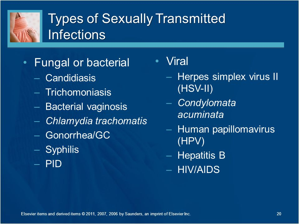 Types of Sexually Transmitted Infections Fungal or bacterial –Candidiasis –Trichomoniasis –Bacterial vaginosis –Chlamydia trachomatis –Gonorrhea/GC –S