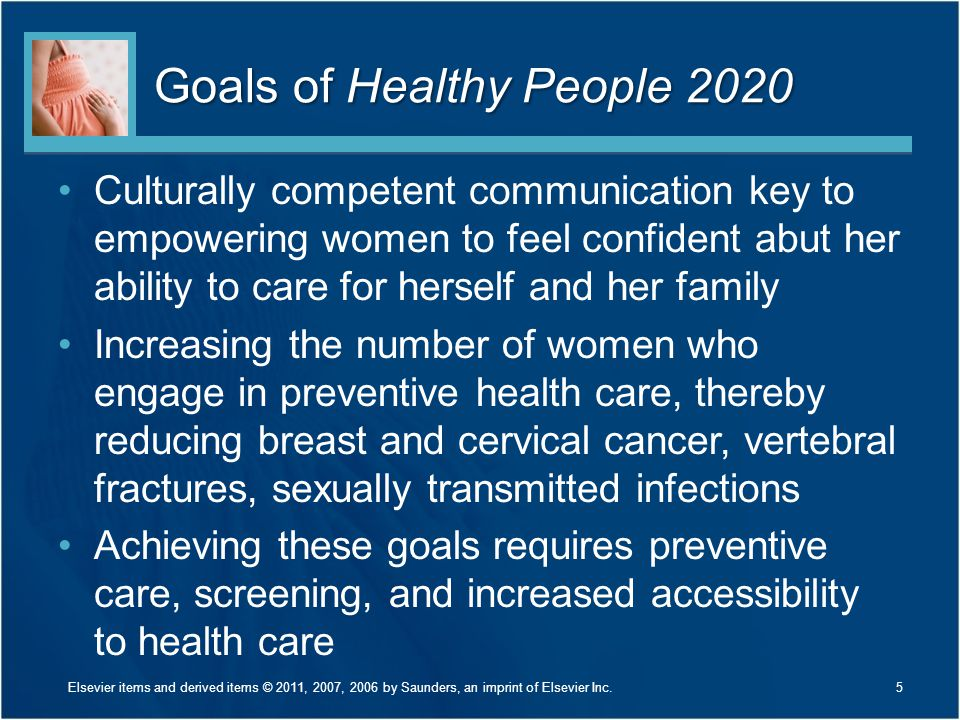 Goals of Healthy People 2020 Culturally competent communication key to empowering women to feel confident abut her ability to care for herself and her