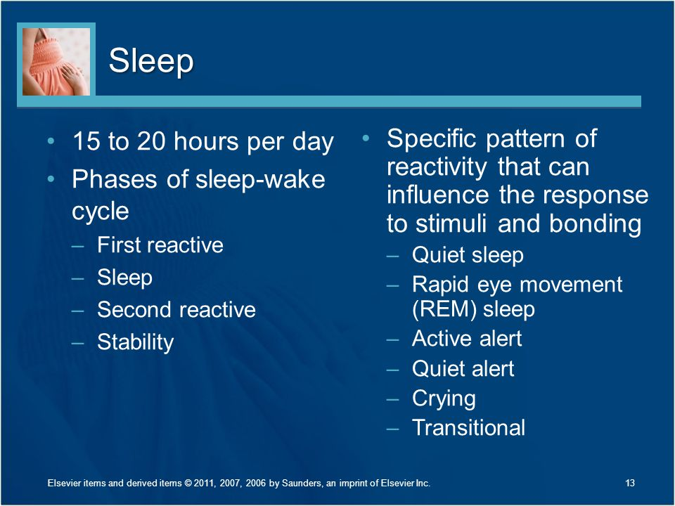 Sleep 15 to 20 hours per day Phases of sleep-wake cycle –First reactive –Sleep –Second reactive –Stability Specific pattern of reactivity that can inf