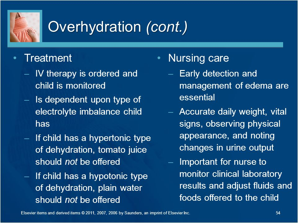 Overhydration (cont.) Treatment –IV therapy is ordered and child is monitored –Is dependent upon type of electrolyte imbalance child has –If child has