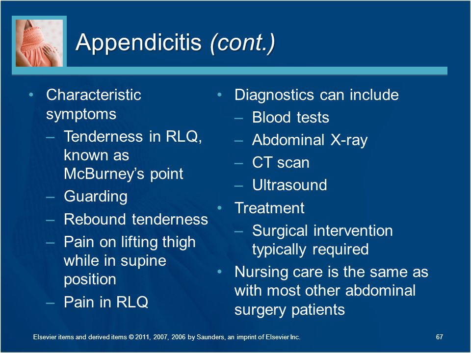 Appendicitis (cont.) Characteristic symptoms –Tenderness in RLQ, known as McBurney's point –Guarding –Rebound tenderness –Pain on lifting thigh while