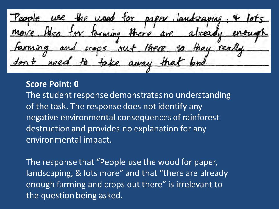 Score Point: 0 The student response demonstrates no understanding of the task. The response does not identify any negative environmental consequences
