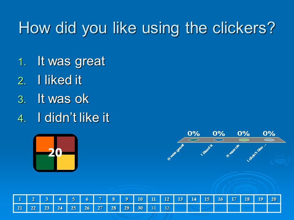 How did you like using the clickers? 1. It was great 2. I liked it 3. It was ok 4. I didn't like it 20 12345678910111213141516171819202122232425262728