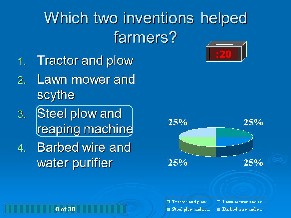 Which two inventions helped farmers? :20 1. Tractor and plow 2. Lawn mower and scythe 3. Steel plow and reaping machine 4. Barbed wire and water purif