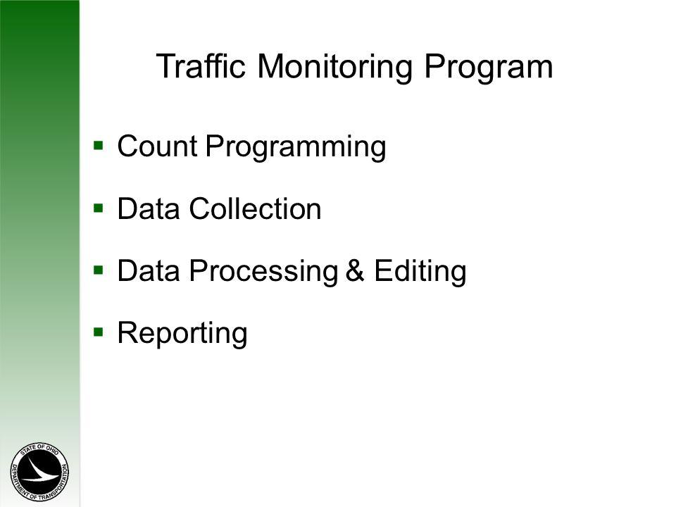 Traffic Monitoring Program  Count Programming  Data Collection  Data Processing & Editing  Reporting