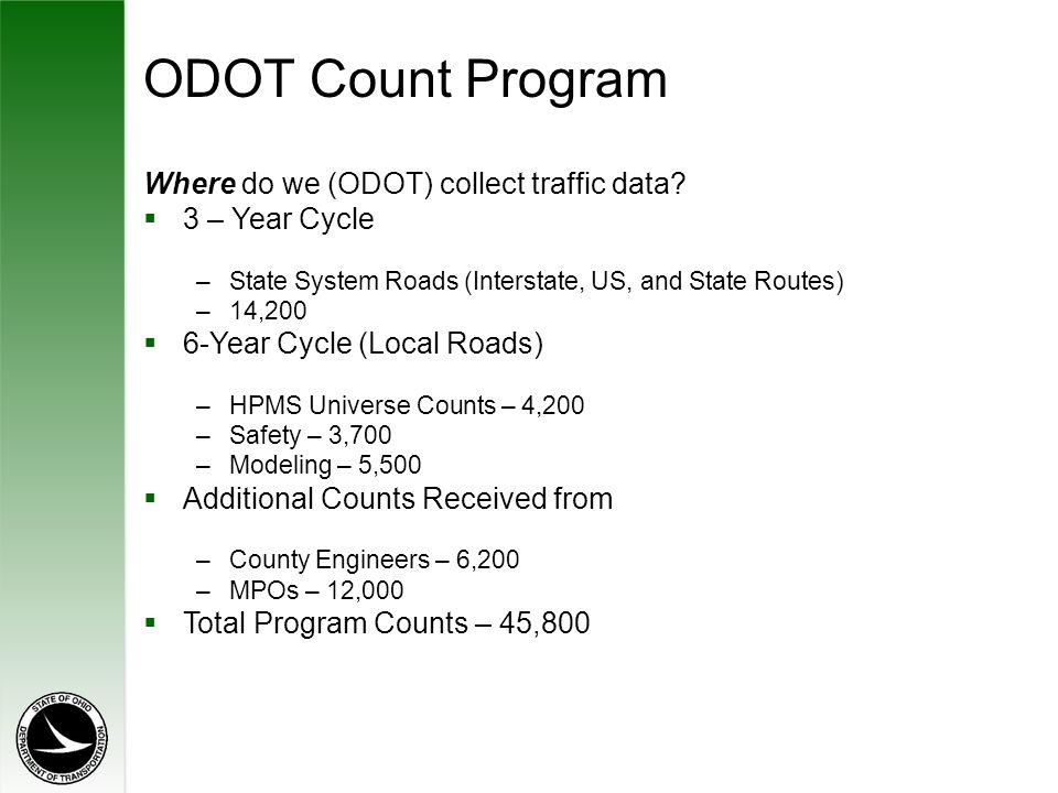 ODOT Count Program Where do we (ODOT) collect traffic data.
