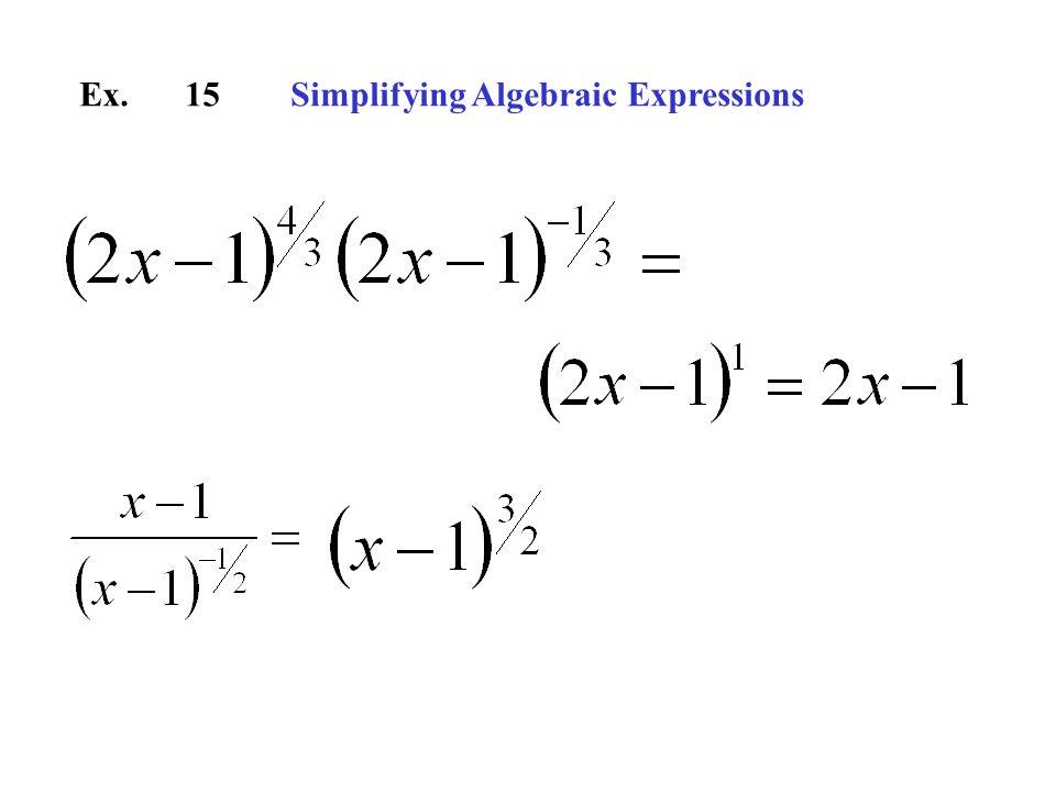 Ex.15Simplifying Algebraic Expressions