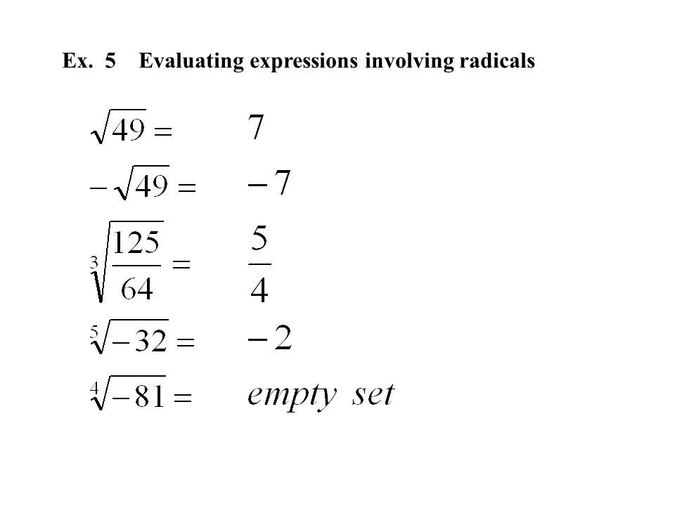 Ex. 5 Evaluating expressions involving radicals