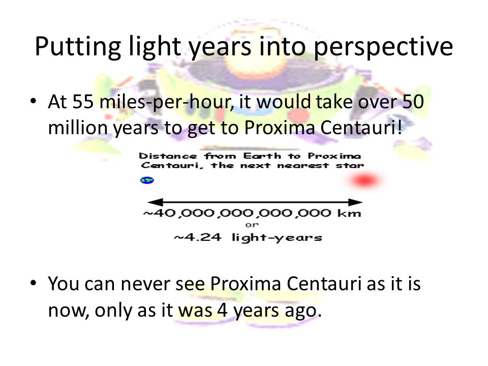 Putting light years into perspective At 55 miles-per-hour, it would take over 50 million years to get to Proxima Centauri! You can never see Proxima C