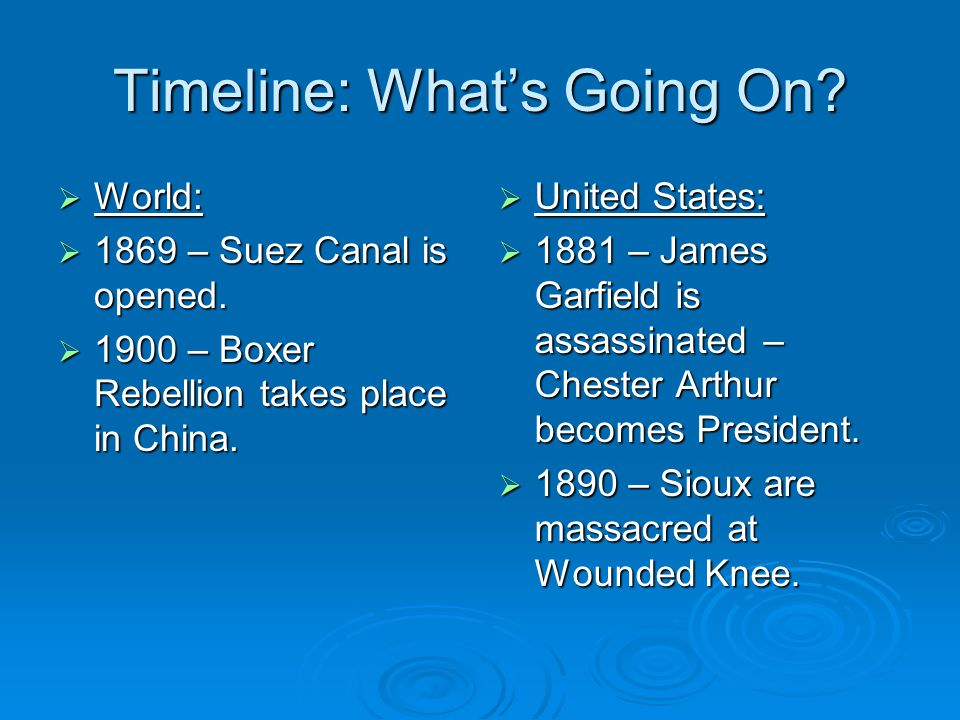Timeline: What's Going On?  World:  1869 – Suez Canal is opened.  1900 – Boxer Rebellion takes place in China.  United States:  1881 – James Garf