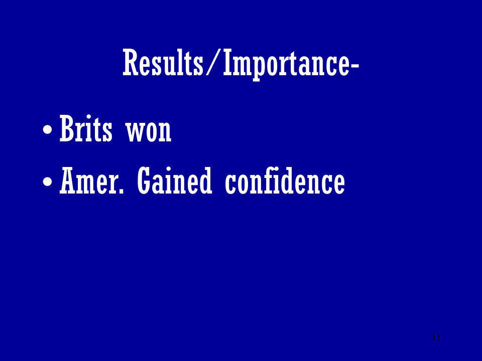 31 Results/Importance- Brits won Amer. Gained confidence