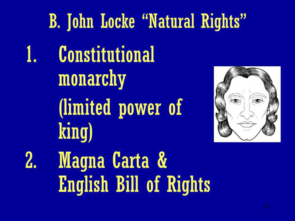 "48 B. John Locke ""Natural Rights"" 1.Constitutional monarchy (limited power of king) 2.Magna Carta & English Bill of Rights"