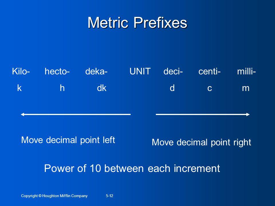 Copyright © Houghton Mifflin Company5-12 Metric Prefixes Kilo- hecto- deka- UNIT deci- centi- milli- k h dk d c m Move decimal point left Move decimal