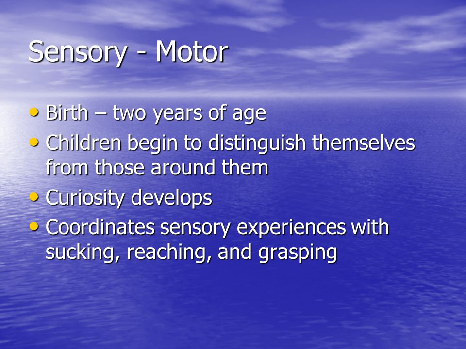 Sensory - Motor Birth – two years of age Birth – two years of age Children begin to distinguish themselves from those around them Children begin to di