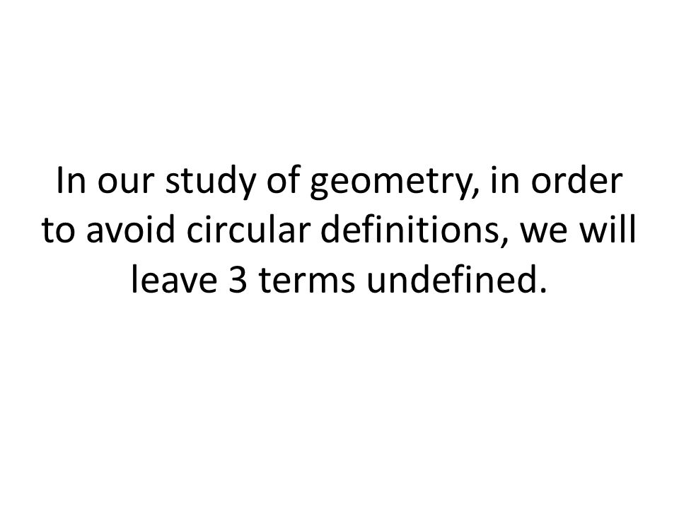 In our study of geometry, in order to avoid circular definitions, we will leave 3 terms undefined.