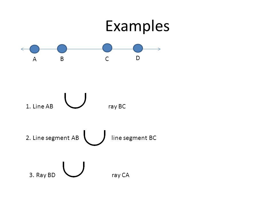 Examples D A BC 1. Line ABray BC 2. Line segment AB line segment BC 3. Ray BDray CA