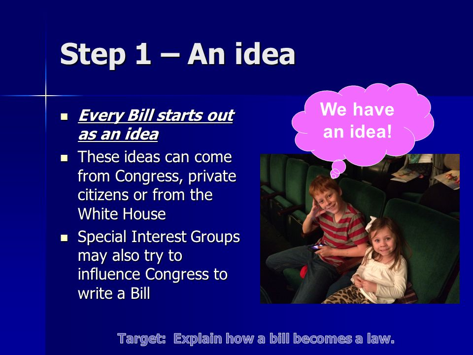 Step 1 – An idea Every Bill starts out as an idea Every Bill starts out as an idea These ideas can come from Congress, private citizens or from the Wh