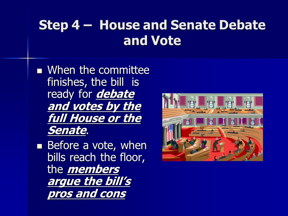 Step 4 – House and Senate Debate and Vote When the committee finishes, the bill is ready for debate and votes by the full House or the Senate.