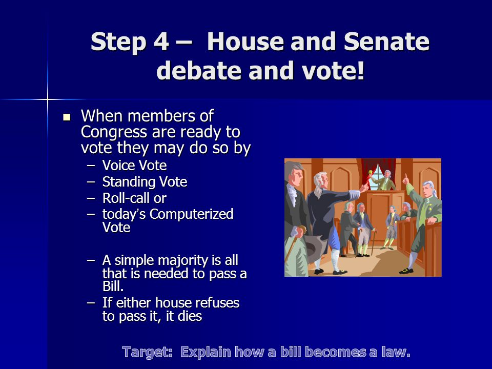 Step 4 – House and Senate debate and vote! When members of Congress are ready to vote they may do so by When members of Congress are ready to vote the