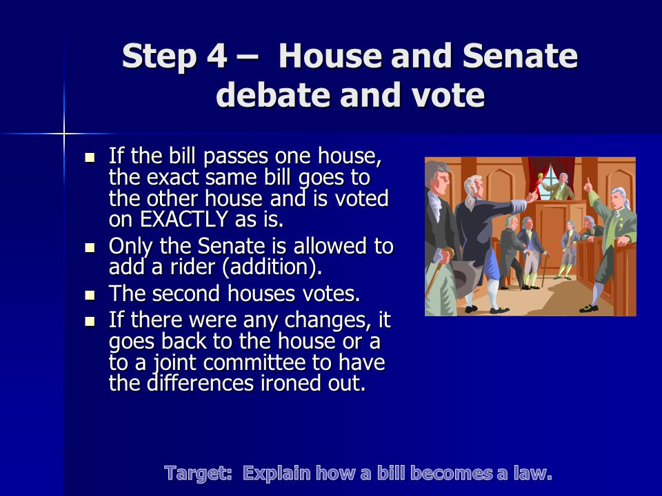 Step 4 – House and Senate debate and vote If the bill passes one house, the exact same bill goes to the other house and is voted on EXACTLY as is.
