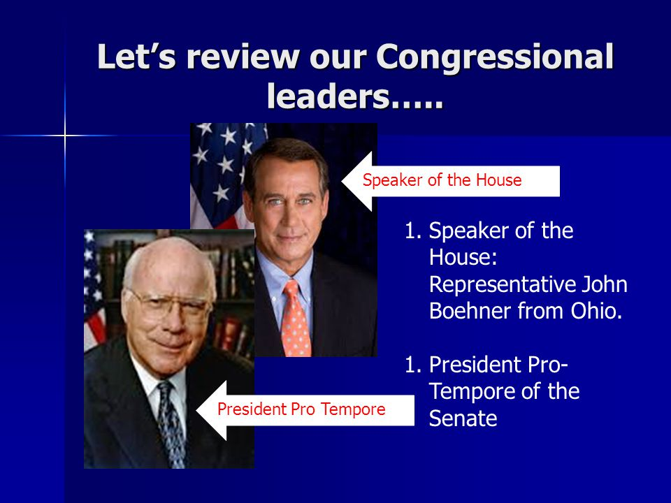 Let's review our Congressional leaders….. 1.Speaker of the House: Representative John Boehner from Ohio. 1.President Pro- Tempore of the Senate Speake