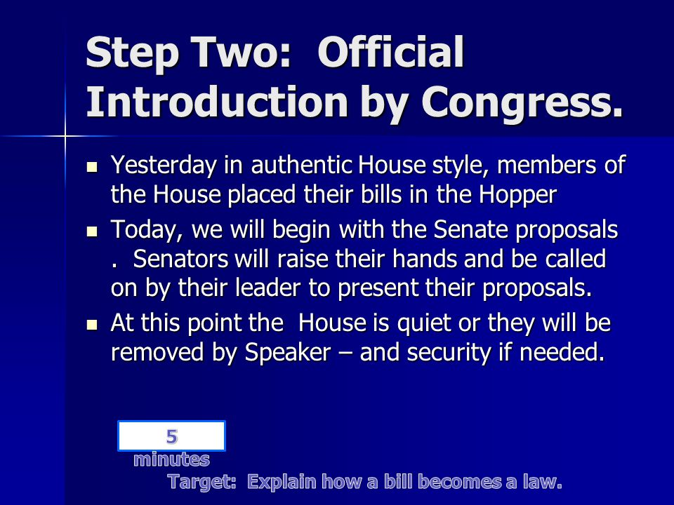 Step Two: Official Introduction by Congress.