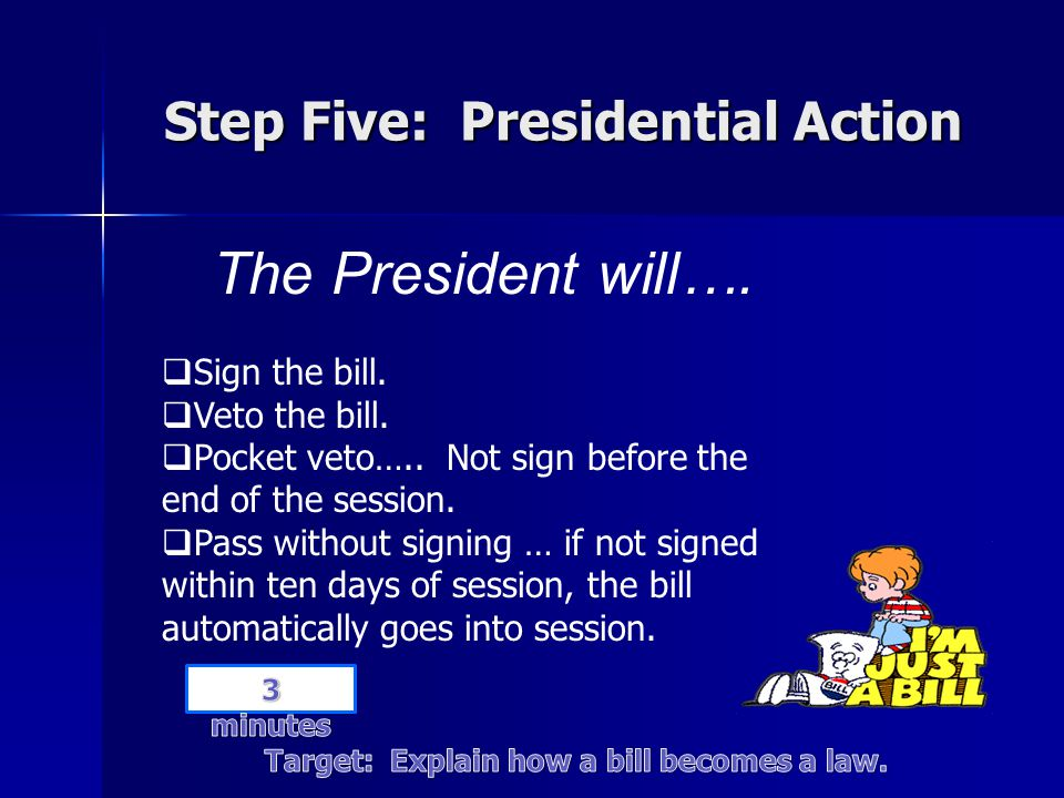 Step Five: Presidential Action The President will….  Sign the bill.  Veto the bill.  Pocket veto….. Not sign before the end of the session.  Pass