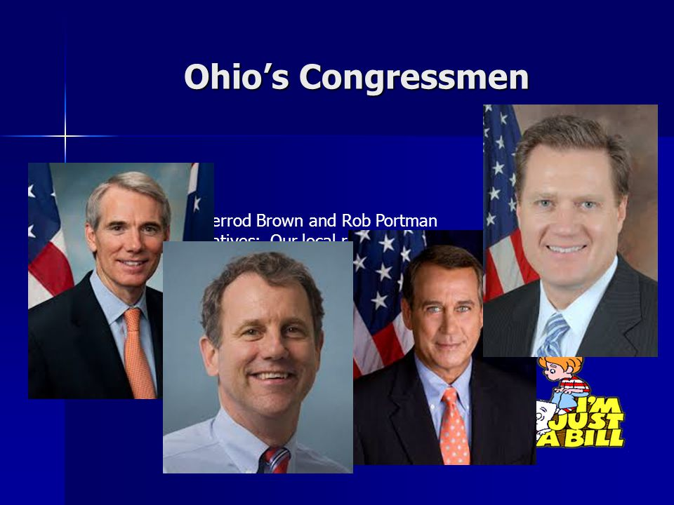 Ohio's Congressmen 1.Senators: Sherrod Brown and Rob Portman 2.16 Representatives: Our local rep is Michael Turner 3.The current speaker of the house