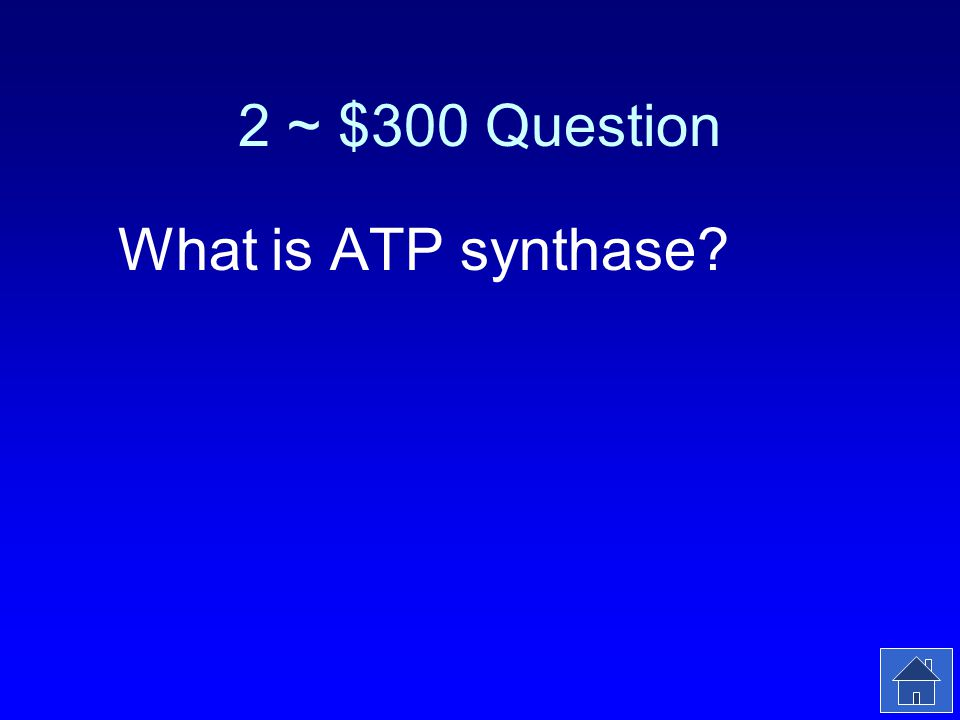 2 ~ $300 Answer The enzyme that makes ATP.