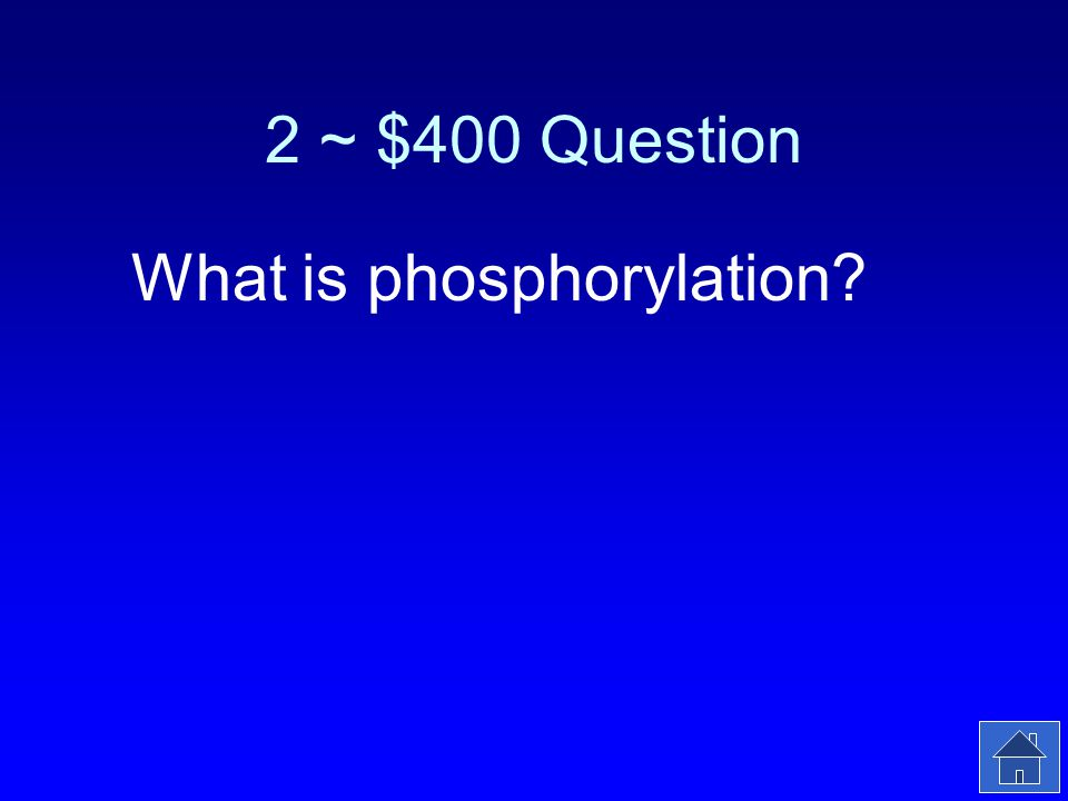 2 ~ $400 Answer The transfer of a phosphate from ATP to another molecule.
