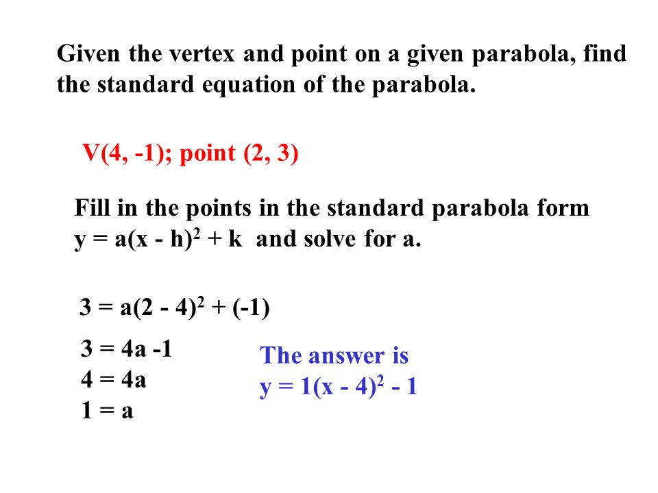 Given the vertex and point on a given parabola, find the standard equation of the parabola. V(4, -1); point (2, 3) Fill in the points in the standard
