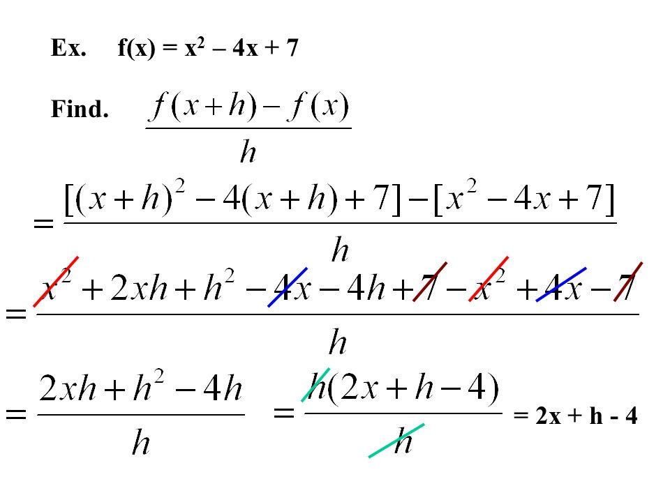 Ex. f(x) = x 2 – 4x + 7 Find. = 2x + h - 4