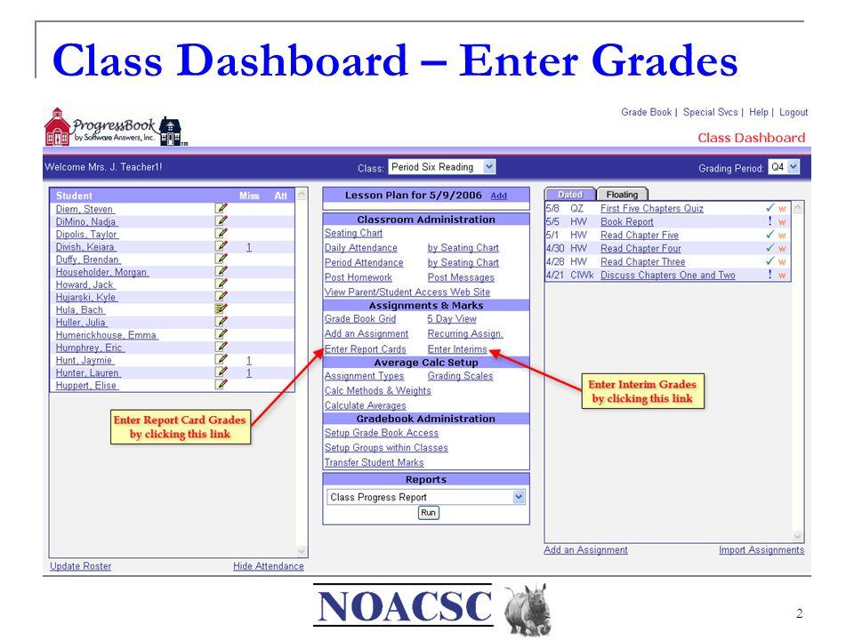2 Class Dashboard – Enter Grades
