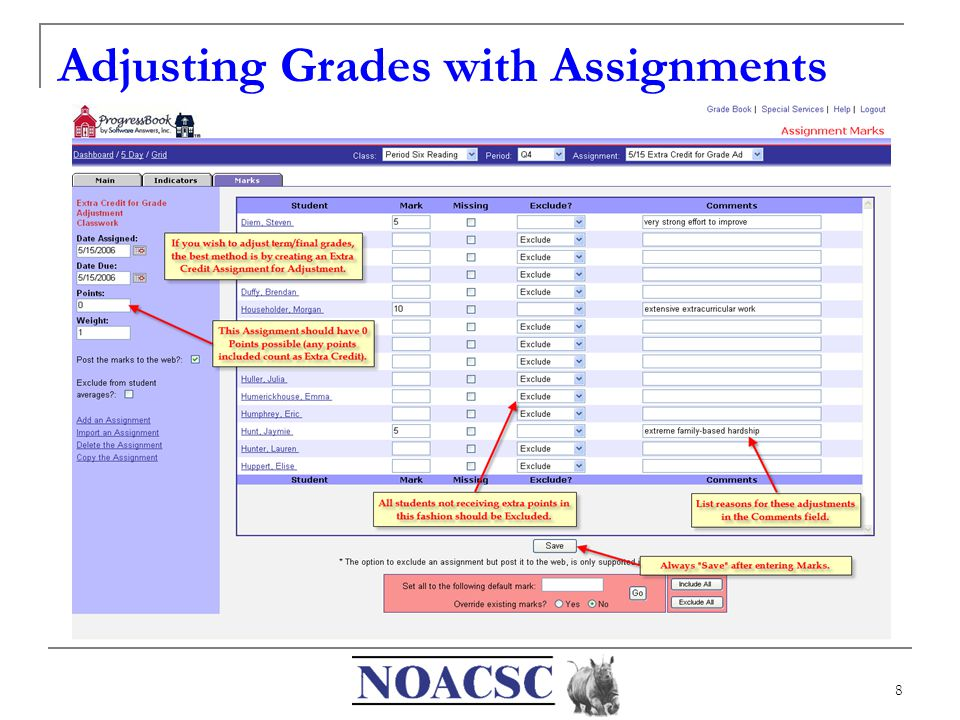8 Adjusting Grades with Assignments