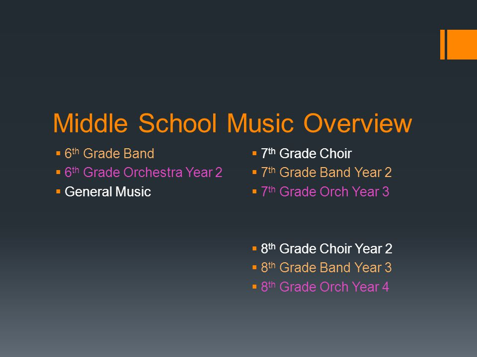 Middle School Music Overview  6 th Grade Band  6 th Grade Orchestra Year 2  General Music  7 th Grade Choir  7 th Grade Band Year 2  7 th Grade Orch Year 3  8 th Grade Choir Year 2  8 th Grade Band Year 3  8 th Grade Orch Year 4