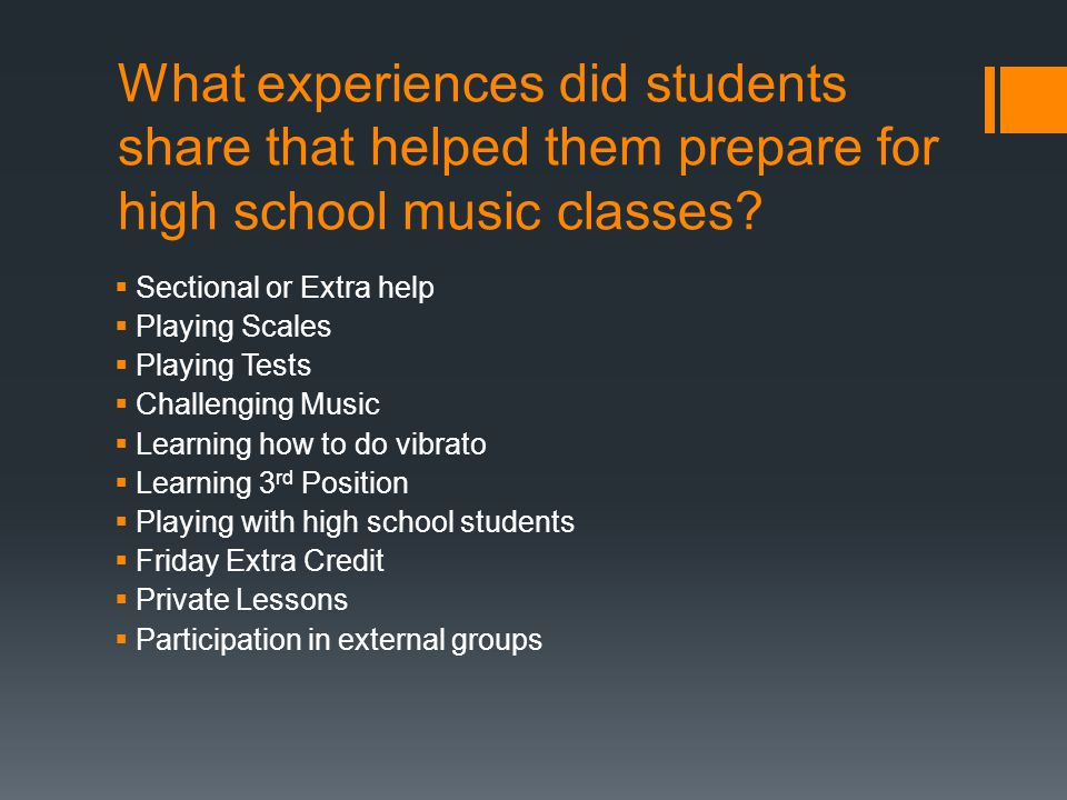 What experiences did students share that helped them prepare for high school music classes.