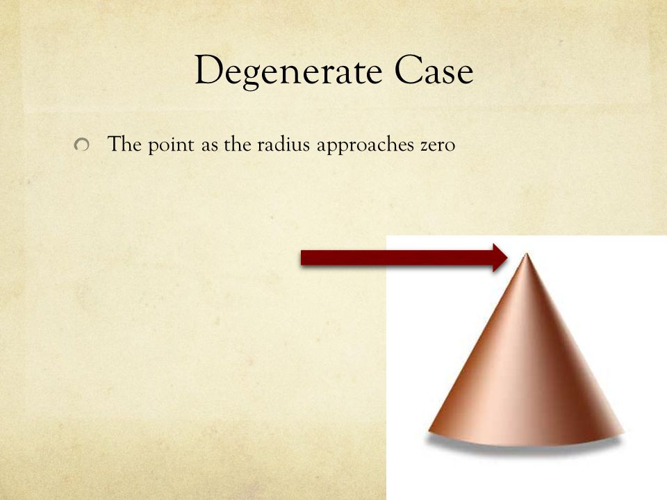 Degenerate Case The point as the radius approaches zero