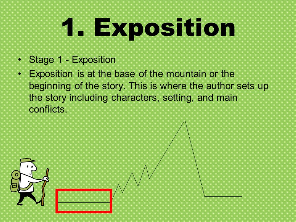 1. Exposition Stage 1 - Exposition Exposition is at the base of the mountain or the beginning of the story. This is where the author sets up the story