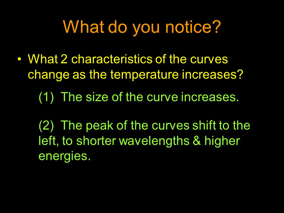 What do you notice? What 2 characteristics of the curves change as the temperature increases? (1) The size of the curve increases. (2) The peak of the
